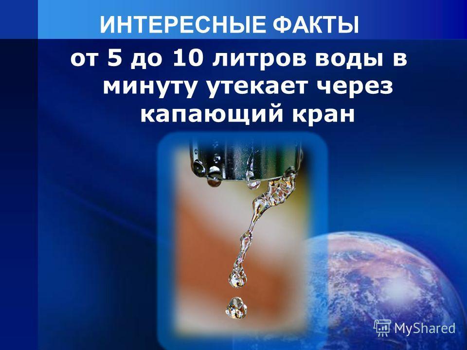 ИНТЕРЕСНЫЕ ФАКТЫ от 5 до 10 литров воды в минуту утекает через капающий кран