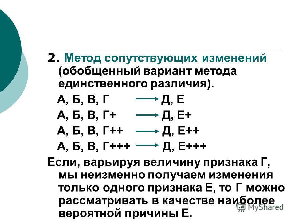 2. Метод сопутствующих изменений (обобщенный вариант метода единственного различия). А, Б, В, Г Д, Е А, Б, В, Г+ Д, Е+ А, Б, В, Г++ Д, Е++ А, Б, В, Г+++ Д, Е+++ Если, варьируя величину признака Г, мы неизменно получаем изменения только одного признак