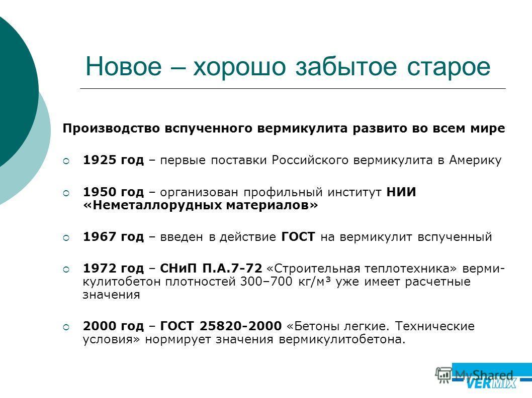 Новое – хорошо забытое старое Производство вспученного вермикулита развито во всем мире 1925 год – первые поставки Российского вермикулита в Америку 1950 год – организован профильный институт НИИ «Неметаллорудных материалов» 1967 год – введен в дейст