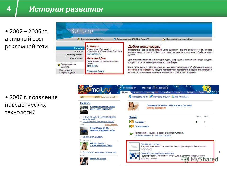 4 История развития 2002 – 2006 гг. активный рост рекламной сети 2006 г. появление поведенческих технологий
