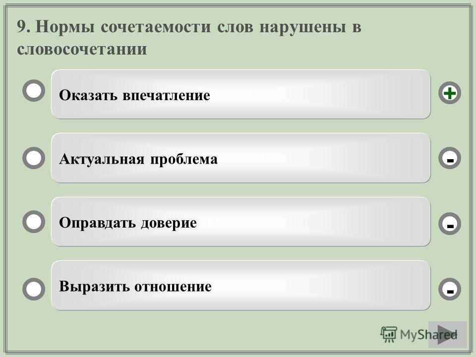 9. Нормы сочетаемости слов нарушены в словосочетании Оказать впечатление Актуальная проблема Оправдать доверие Выразить отношение - - + -