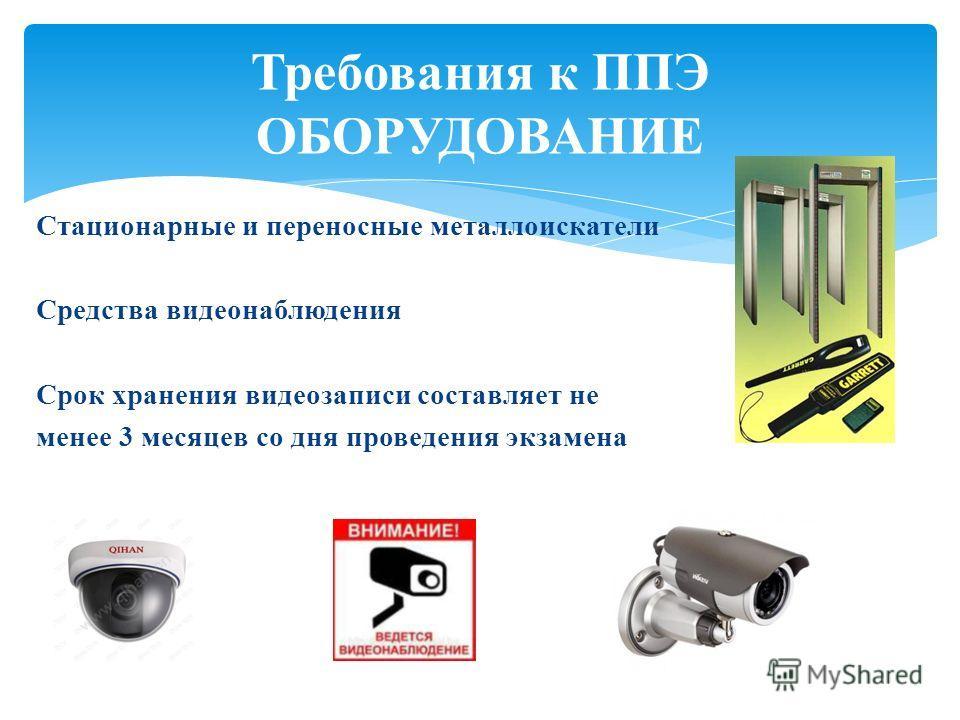 Стационарные и переносные металлоискатели Средства видеонаблюдения Срок хранения видеозаписи составляет не менее 3 месяцев со дня проведения экзамена Требования к ППЭ ОБОРУДОВАНИЕ