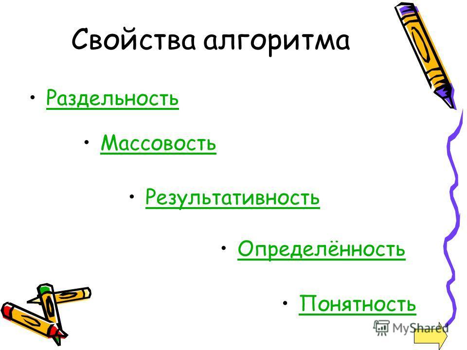 Свойства алгоритма Раздельность Массовость Результативность Понятность Определённость
