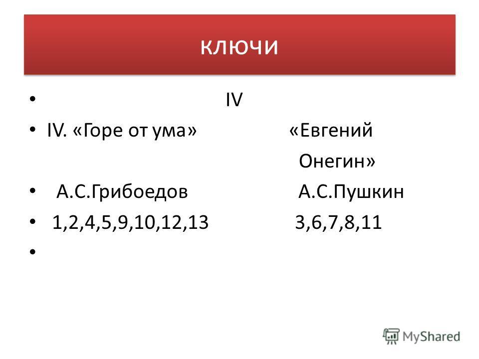 ключи IV IV. «Горе от ума» «Евгений Онегин» А.С.Грибоедов А.С.Пушкин 1,2,4,5,9,10,12,13 3,6,7,8,11