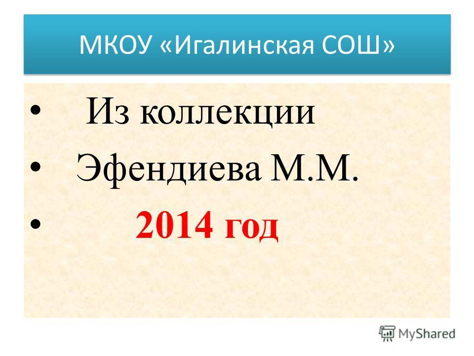 МКОУ «Игалинская СОШ» Из коллекции Эфендиева М.М. 2014 год
