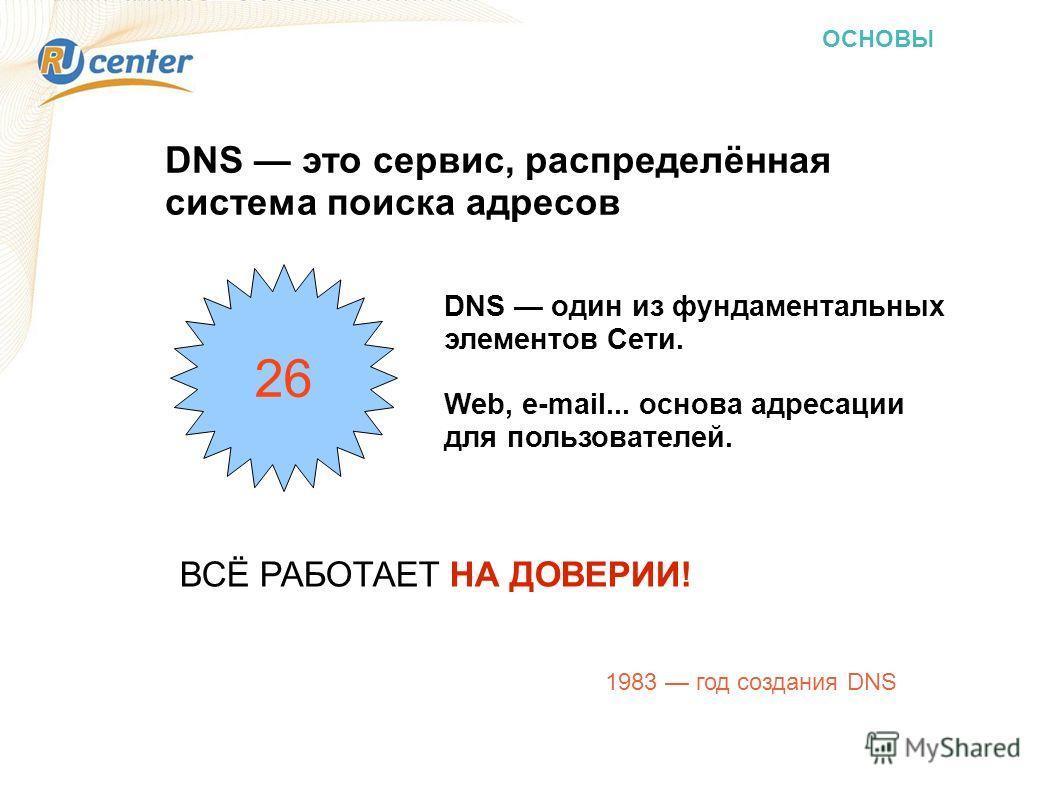DNS один из фундаментальных элементов Сети. Web, e-mail... основа адресации для пользователей. 1983 год создания DNS DNS это сервис, распределённая система поиска адресов ВСЁ РАБОТАЕТ НА ДОВЕРИИ! 26
