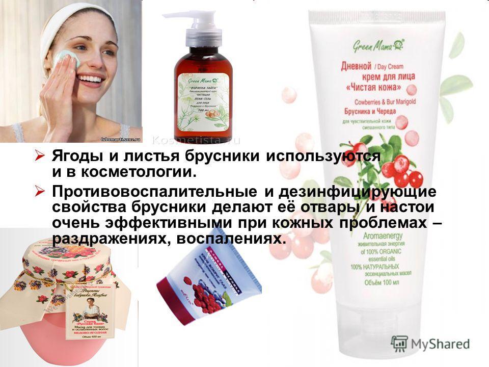 Ягоды и листья брусники используются и в косметологии. Противовоспалительные и дезинфицирующие свойства брусники делают её отвары и настои очень эффективными при кожных проблемах – раздражениях, воспалениях.