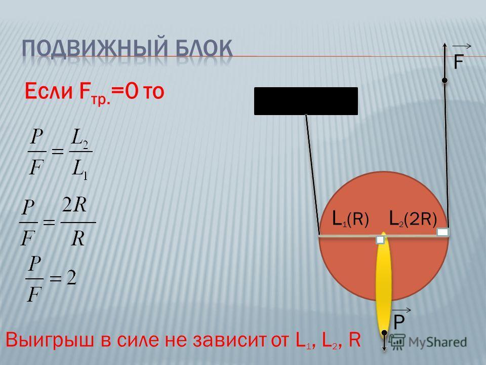 Если F тр. =0 то L 1 (R) L 2 (2R) Выигрыш в силе не зависит от L 1, L 2, R F P