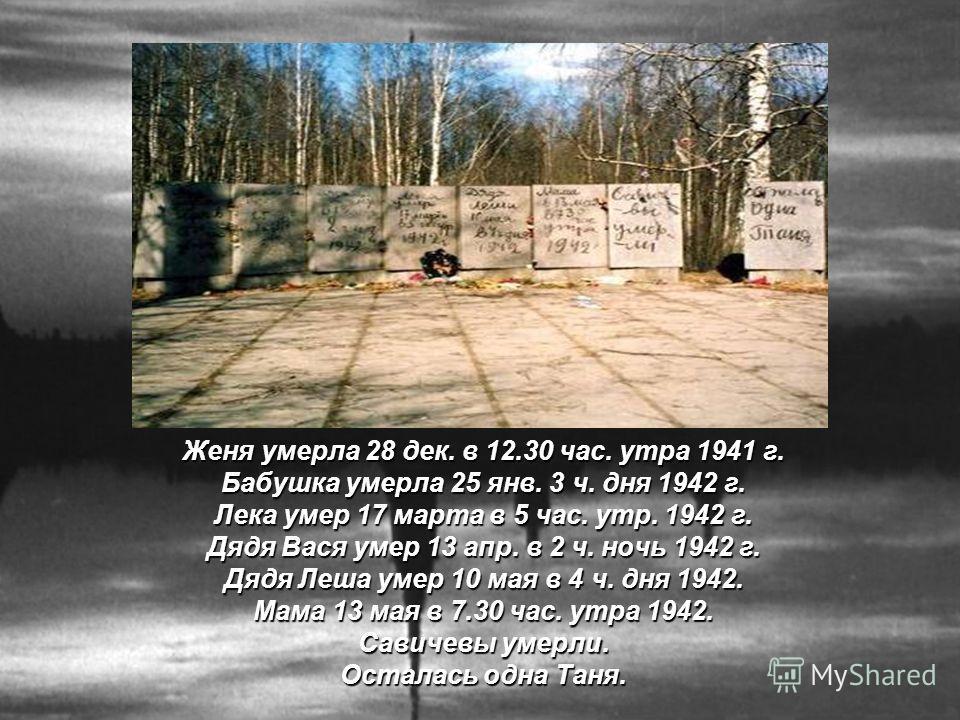 Женя умерла 28 дек. в 12.30 час. утра 1941 г. Бабушка умерла 25 янв. 3 ч. дня 1942 г. Лека умер 17 марта в 5 час. утр. 1942 г. Дядя Вася умер 13 апр. в 2 ч. ночь 1942 г. Дядя Леша умер 10 мая в 4 ч. дня 1942. Мама 13 мая в 7.30 час. утра 1942. Савиче