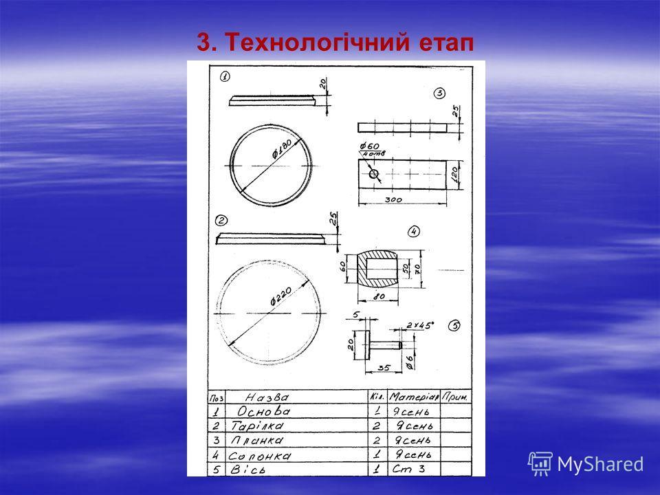 Інструменти для виготовлення виробу > олівець, циркуль, кутник,рейсмус, лінійка, штангенциркуль > рейєр, мейсель, рубанок, столярна ножівка, стамеска. Обладнання: - токарний верстат по дереву СТД-120М; - токарний верстат по металу ТВ-6; - свердлильни