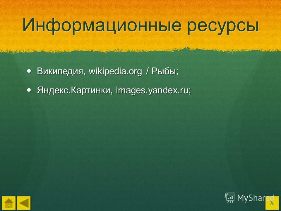 Информационные ресурсы Википедия, wikipedia.org / Рыбы; Википедия, wikipedia.org / Рыбы; Яндекс.Картинки, images.yandex.ru; Яндекс.Картинки, images.yandex.ru; Х
