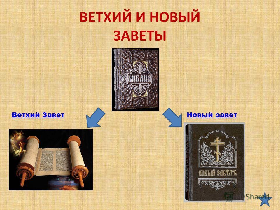 ВЕТХИЙ И НОВЫЙ ЗАВЕТЫ Ветхий ЗаветНовый завет