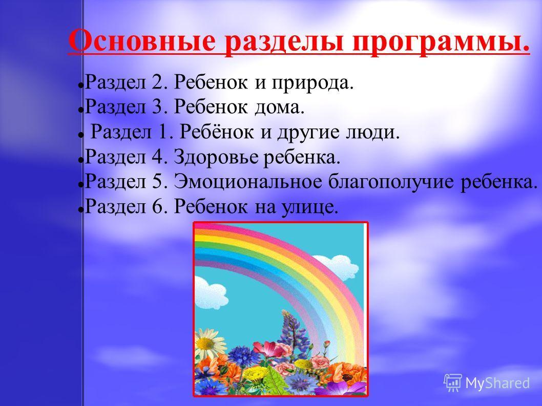 Основные разделы программы. Раздел 2. Ребенок и природа. Раздел 3. Ребенок дома. Раздел 1. Ребёнок и другие люди. Раздел 4. Здоровье ребенка. Раздел 5. Эмоциональное благополучие ребенка. Раздел 6. Ребенок на улице.