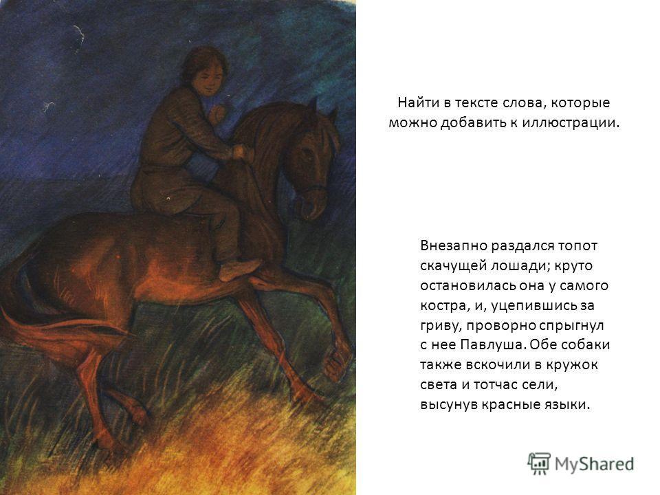 Найти в тексте слова, которые можно добавить к иллюстрации. Внезапно раздался топот скачущей лошади; круто остановилась она у самого костра, и, уцепившись за гриву, проворно спрыгнул с нее Павлуша. Обе собаки также вскочили в кружок света и тотчас се
