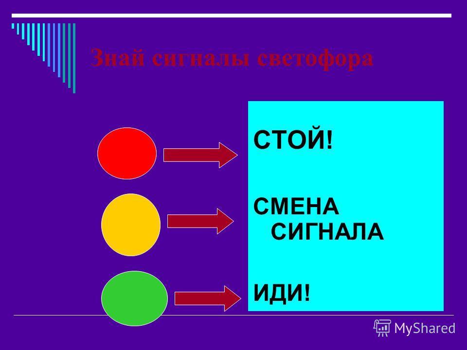 Знай сигналы светофора СТОЙ! СМЕНА СИГНАЛА ИДИ!
