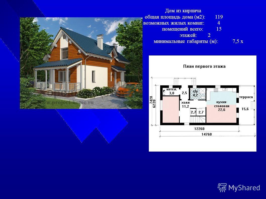 Дом из кирпича общая площадь дома (м2):119 возможных жилых комнат:4 помещений всего:15 этажей:2 минимальные габариты (м):7,5 x 14,7