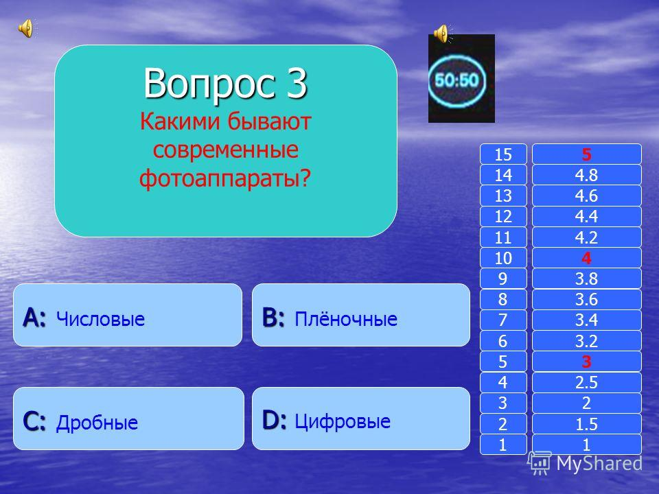 Вопрос 2 Что получается при делении чисел? B: B: Результат A: A: Личное D: D: Частное C: C: Общественное 11 2 3 4 5 6 7 8 9 10 11 12 13 14 15 1.5 2 2.5 3 3.2 3.4 3.6 3.8 4 4.2 4.4 4.6 4.8 5