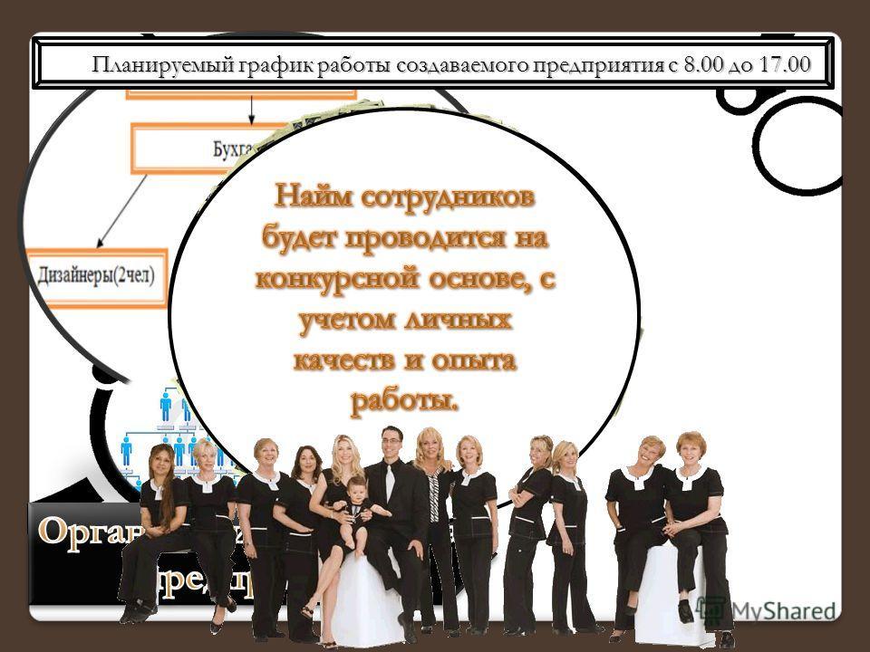 Планируемый график работы создаваемого предприятия с 8.00 до 17.00 Планируемый график работы создаваемого предприятия с 8.00 до 17.00.