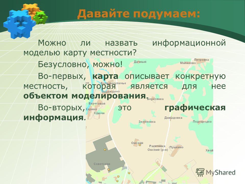 Давайте подумаем: Можно ли назвать информационной моделью карту местности? Безусловно, можно! Во-первых, карта описывает конкретную местность, которая является для нее объектом моделирования. Во-вторых, это графическая информация.