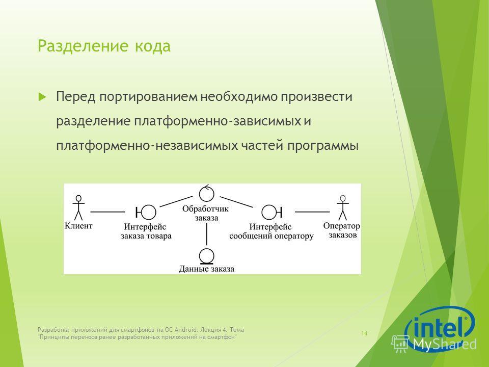 Разделение кода Перед портированием необходимо произвести разделение платформенно-зависимых и платформенно-независимых частей программы Разработка приложений для смартфонов на ОС Android. Лекция 4. Тема