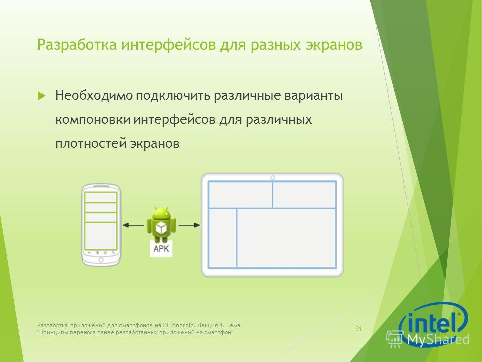 Разработка интерфейсов для разных экранов Необходимо подключить различные варианты компоновки интерфейсов для различных плотностей экранов Разработка приложений для смартфонов на ОС Android. Лекция 4. Тема
