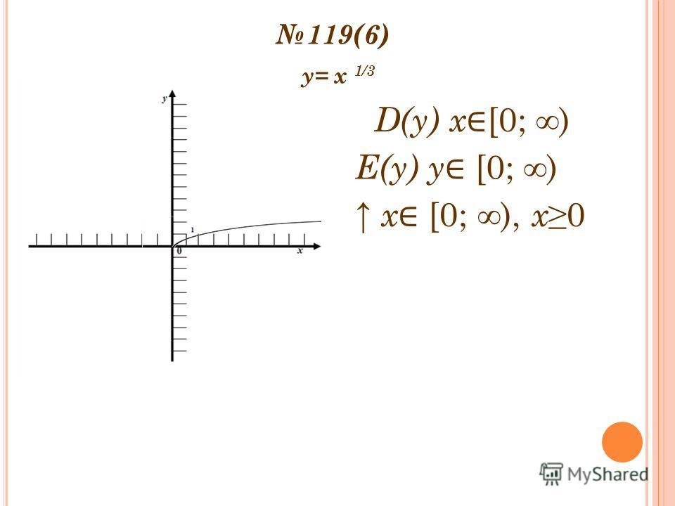 119(6) y= x 1/3 Е(y) y [0; ) D(y) x [0; ) х [0; ), х0