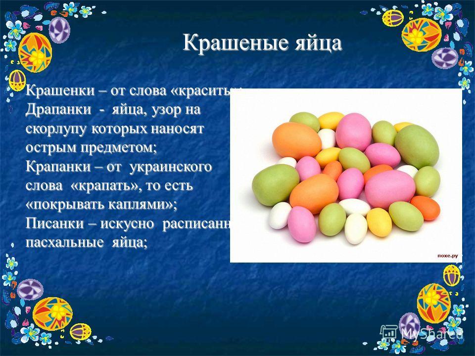Крашеные яйца Крашенки – от слова «красить»; Драпанки - яйца, узор на скорлупу которых наносят острым предметом; Крапанки – от украинского слова «крапать», то есть «покрывать каплями»; Писанки – искусно расписанные пасхальные яйца;