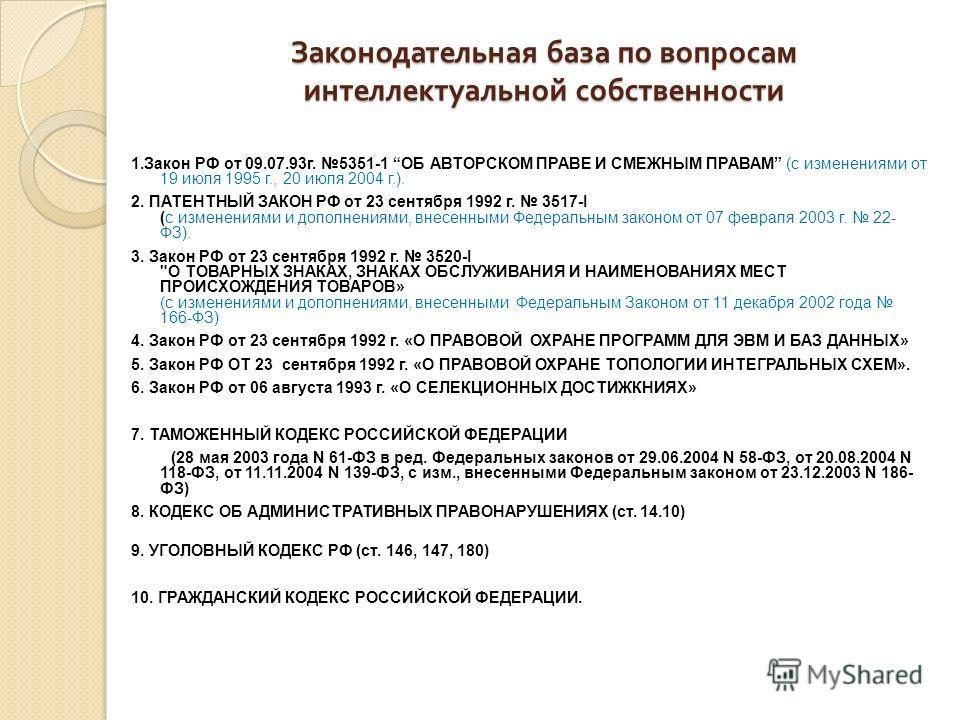 Законодательная база по вопросам интеллектуальной собственности 1.Закон РФ от 09.07.93г. 5351-1 ОБ АВТОРСКОМ ПРАВЕ И СМЕЖНЫМ ПРАВАМ (с изменениями от 19 июля 1995 г., 20 июля 2004 г.). 2. ПАТЕНТНЫЙ ЗАКОН РФ от 23 сентября 1992 г. 3517-I (с изменениям