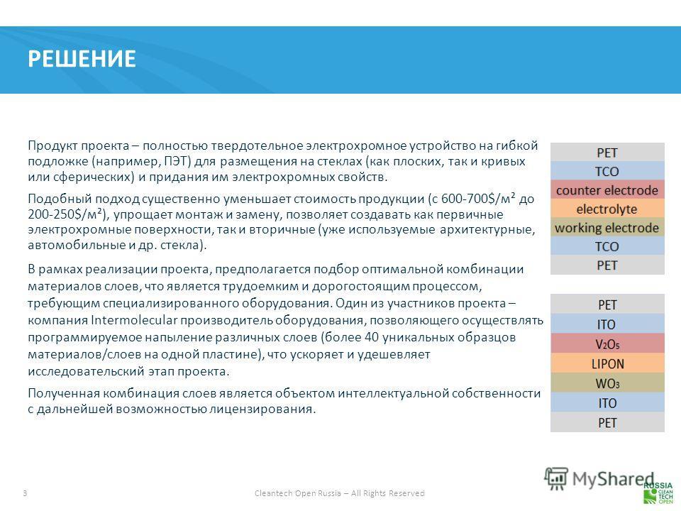 3 Cleantech Open Russia – All Rights Reserved РЕШЕНИЕ Продукт проекта – полностью твердотельное электрохромное устройство на гибкой подложке (например, ПЭТ) для размещения на стеклах (как плоских, так и кривых или сферических) и придания им электрохр