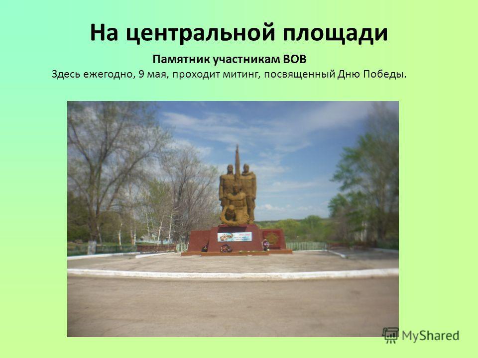 На центральной площади Памятник участникам ВОВ Здесь ежегодно, 9 мая, проходит митинг, посвященный Дню Победы.