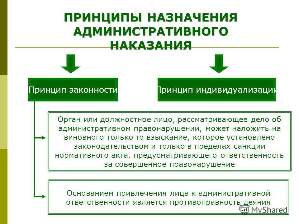 ПРИНЦИПЫ НАЗНАЧЕНИЯ АДМИНИСТРАТИВНОГО НАКАЗАНИЯ Принцип законностиПринцип индивидуализации Орган или должностное лицо, рассматривающее дело об административном правонарушении, может наложить на виновного только то взыскание, которое установлено закон
