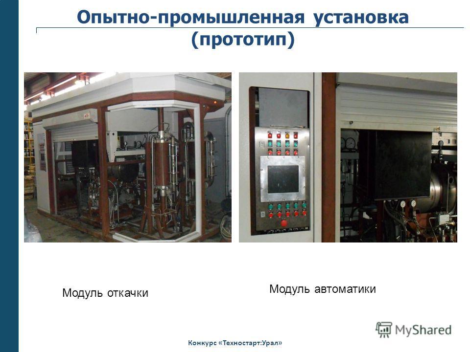 Конкурс «Техностарт:Урал» Опытно-промышленная установка (прототип) Модуль откачки Модуль автоматики