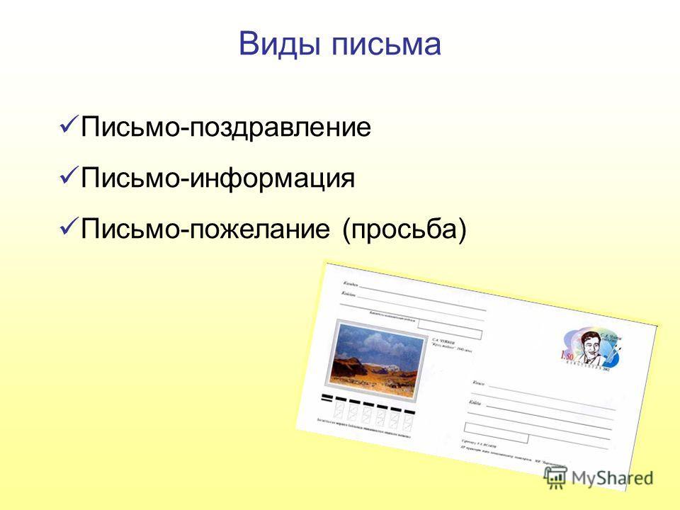 Виды письма Письмо-поздравление Письмо-информация Письмо-пожелание (просьба)