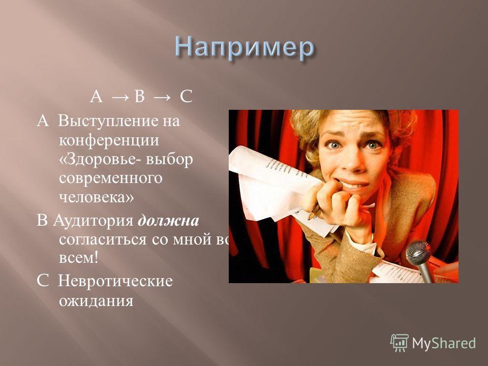 A B C А Выступление на конференции « Здоровье - выбор современного человека » В Аудитория должна согласиться со мной во всем ! C Невротические ожидания