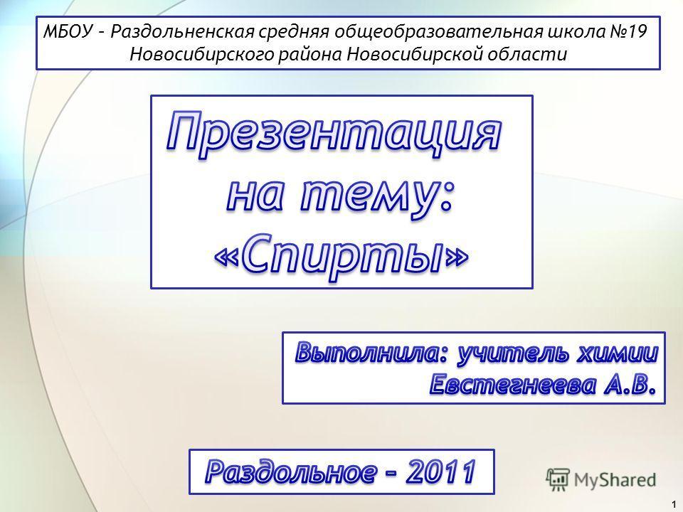 1 МБОУ – Раздольненская средняя общеобразовательная школа 19 Новосибирского района Новосибирской области