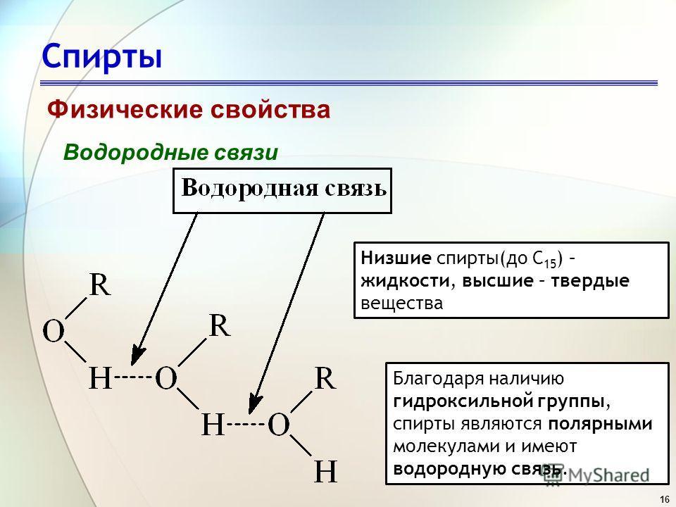 16 Спирты Физические свойства Водородные связи Благодаря наличию гидроксильной группы, спирты являются полярными молекулами и имеют водородную связь. Низшие спирты(до С 15 ) – жидкости, высшие – твердые вещества