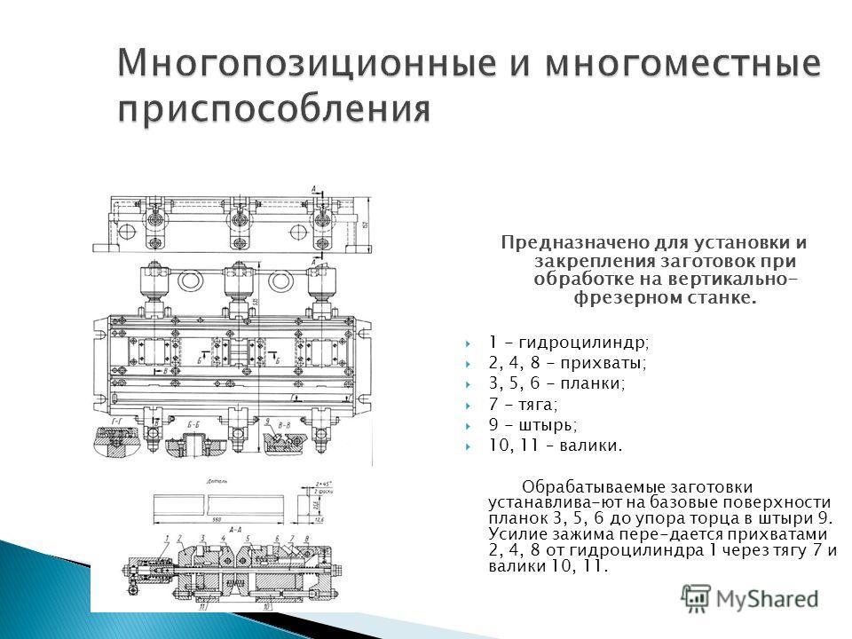 Предназначено для установки и закрепления заготовок при обработке на вертикально- фрезерном станке. 1 - гидроцилиндр; 2, 4, 8 - прихваты; 3, 5, 6 - планки; 7 - тяга; 9 - штырь; 10, 11 – валики. Обрабатываемые заготовки устанавлива-ют на базовые повер