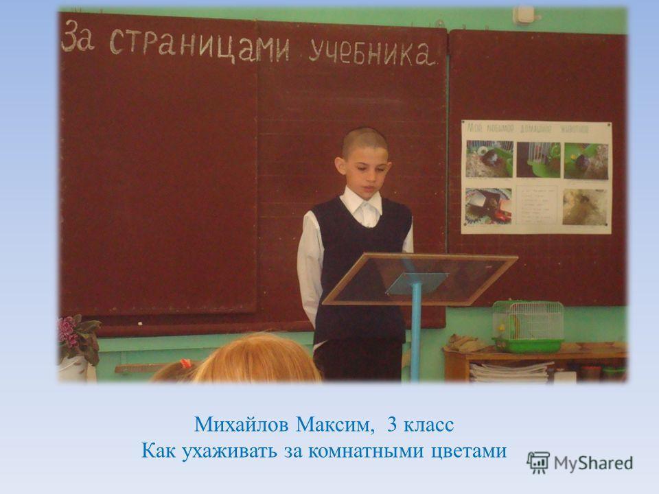 Михайлов Максим, 3 класс Как ухаживать за комнатными цветами