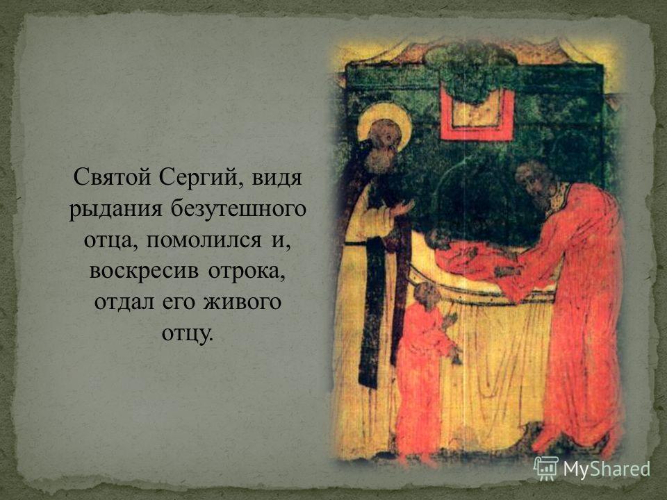 Святой Сергий, видя рыдания безутешного отца, помолился и, воскресив отрока, отдал его живого отцу.