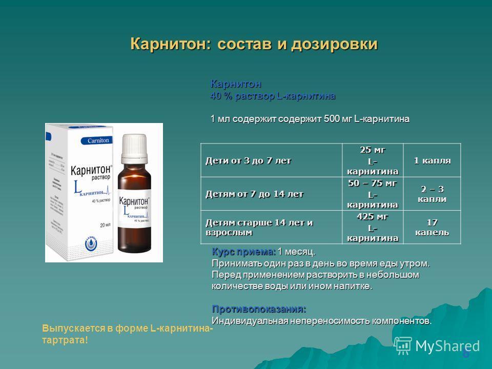 Карнитон: состав и дозировки Карнитон 40 % раствор L-карнитина 1 мл содержит содержит 500 мг L-карнитина Дети от 3 до 7 лет 25 мг L- карнитина 1 капля Детям от 7 до 14 лет 50 – 75 мг L- карнитина 2 – 3 капли Детям старше 14 лет и взрослым 425 мг L- к