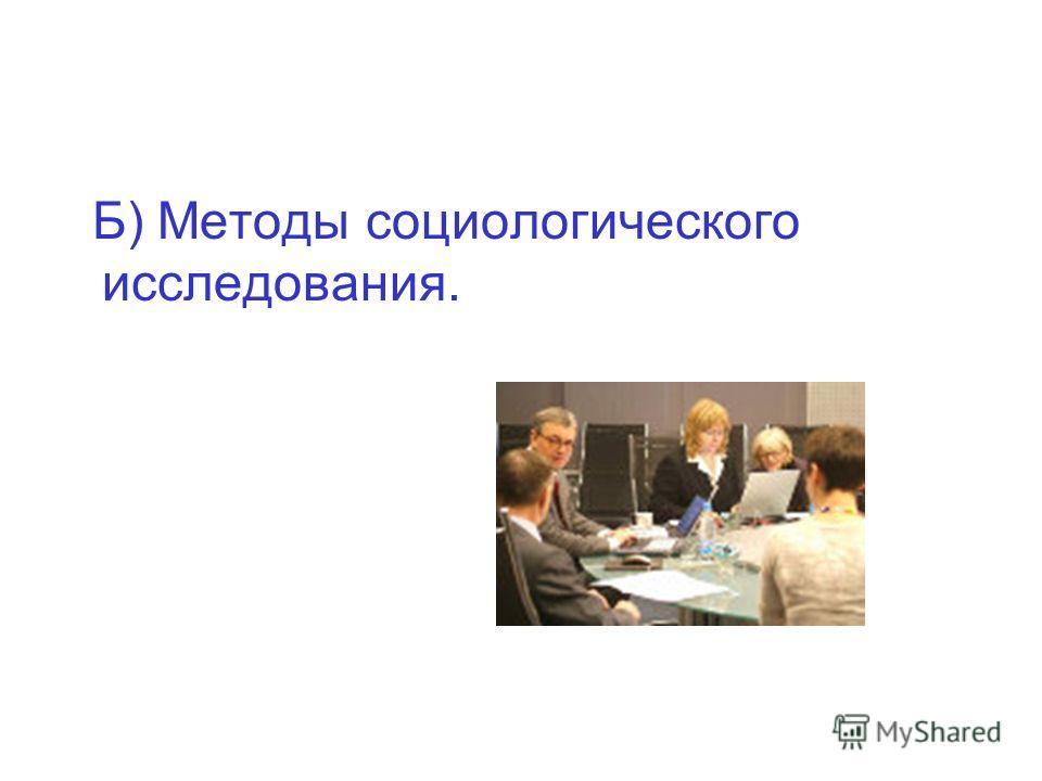 Б) Методы социологического исследования.