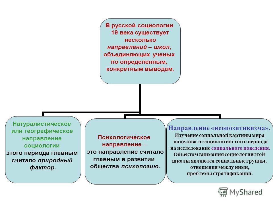В русской социологии 19 века существует несколько направлений – школ, объединяющих ученых по определенным, конкретным выводам. Натуралистическое или географическое направление социологии этого периода главным считало природный фактор. Психологическое
