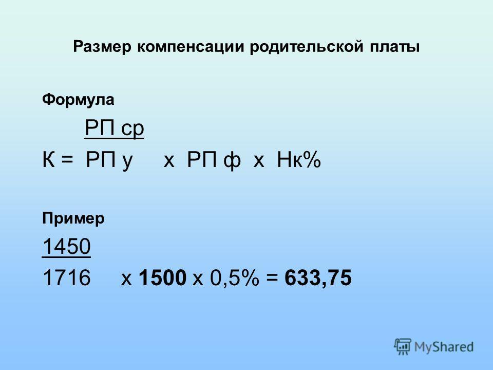 Размер компенсации родительской платы Формула РП ср К = РП у х РП ф х Нк% Пример 1450 1716 х 1500 х 0,5% = 633,75