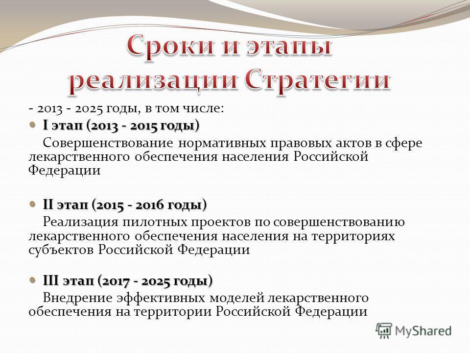 - 2013 - 2025 годы, в том числе: I этап (2013 - 2015 годы) I этап (2013 - 2015 годы) Совершенствование нормативных правовых актов в сфере лекарственного обеспечения населения Российской Федерации II этап (2015 - 2016 годы) II этап (2015 - 2016 годы)