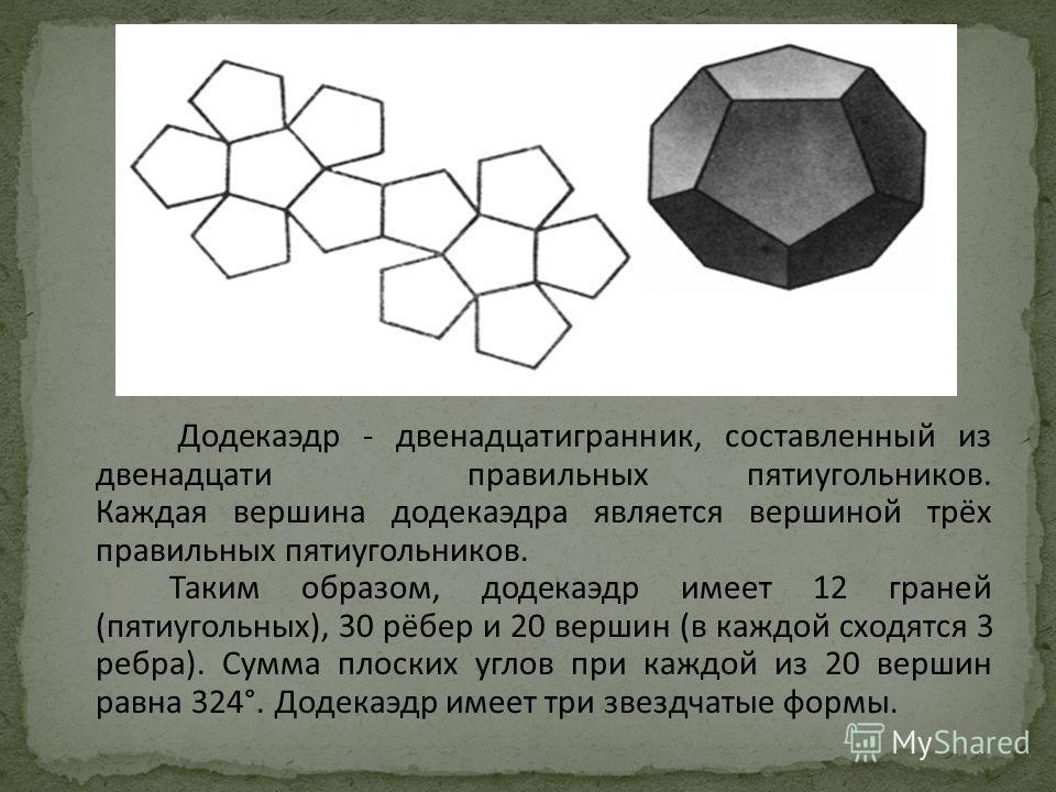 Додекаэдр - двенадцатигранник, составленный из двенадцати правильных пятиугольников. Каждая вершина додекаэдра является вершиной трёх правильных пятиугольников. Таким образом, додекаэдр имеет 12 граней (пятиугольных), 30 рёбер и 20 вершин (в каждой с