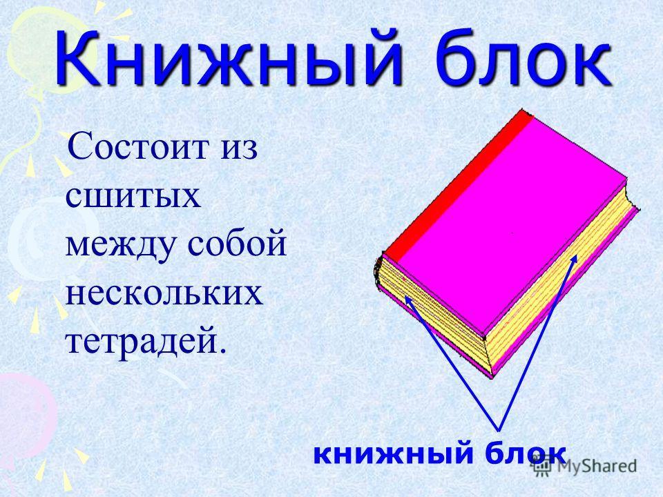 Книжный блок Состоит из сшитых между собой нескольких тетрадей. книжный блок