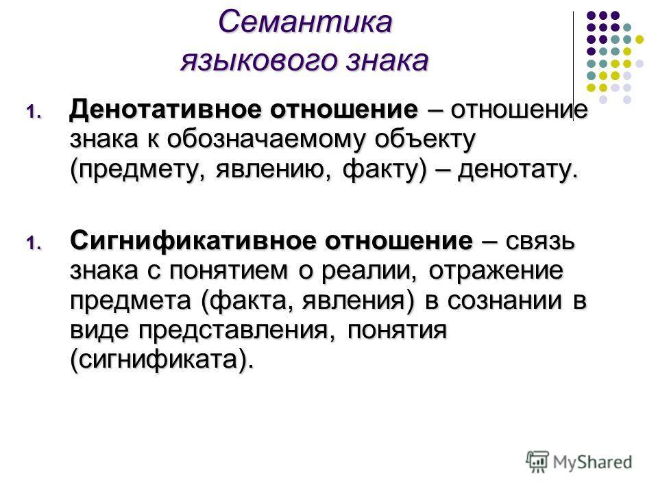 Семантика языкового знака 1. Денотативное отношение – отношение знака к обозначаемому объекту (предмету, явлению, факту) – денотату. 1. Сигнификативное отношение – связь знака с понятием о реалии, отражение предмета (факта, явления) в сознании в виде