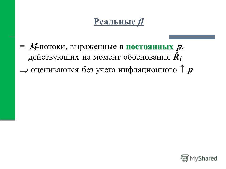 Реальные fl постоянных -потоки, выраженные в постоянных, действующих на момент обоснования Ř Ĩ оцениваются без учета инфляционного 15