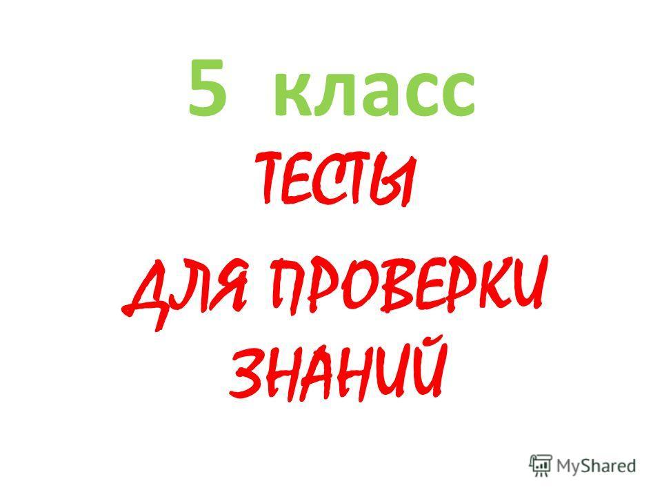 5 класс ТЕСТЫ ДЛЯ ПРОВЕРКИ ЗНАНИЙ