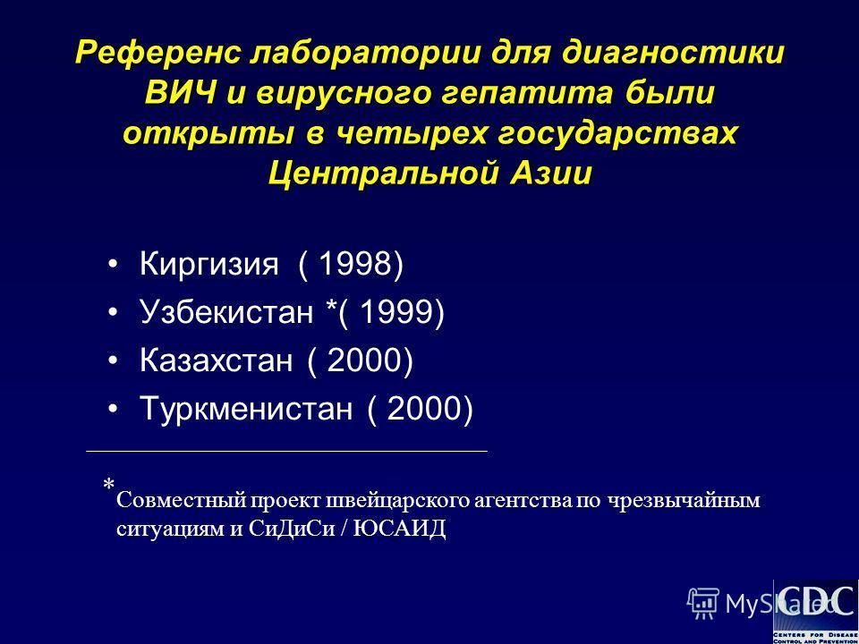 Референс лаборатории для диагностики ВИЧ и вирусного гепатита были открыты в четырех государствах Центральной Азии Киргизия ( 1998) Узбекистан *( 1999) Казахстан ( 2000) Туркменистан ( 2000) * Совместный проект швейцарского агентства по чрезвычайным